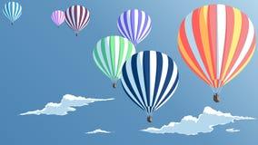 Ballonger för varm luft med moln royaltyfri illustrationer
