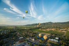 Ballonger för varm luft som svävar ovanför vingårdar Arkivbild