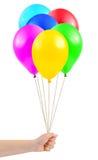 ballonger hand mångfärgat Royaltyfri Fotografi