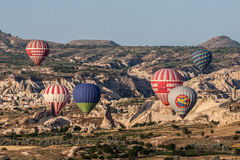 Ballonger i Cappadocia Arkivbilder