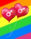 Ballonger i glad förälskelse Arkivbild