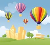 Ballonger i staden stock illustrationer