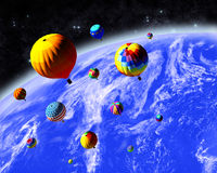 Ballonger i utrymme Royaltyfri Fotografi