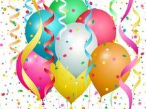 Ballonger, konfettier och banderoller av olika f?rger vektor illustrationer
