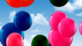 Ballonger luftar färgrik flötehimmel vektor illustrationer