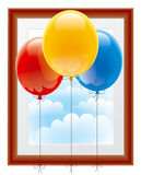 Ballonger med en föreställa inramar Royaltyfri Fotografi