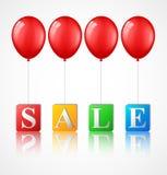 Ballonger med försäljningsbakgrund Stock Illustrationer