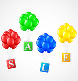 Ballonger med försäljningsbakgrund Vektor Illustrationer