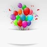 Ballonger med konfettier, baner för lycklig födelsedag Arkivfoto