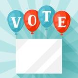 Ballonger med vädjan röstar Politisk valillustration för baner, webbplatser, baner och flayers Arkivbild