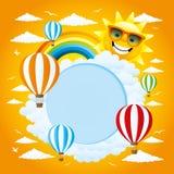 Ballonger, moln, regnbåge och sol Fotografering för Bildbyråer