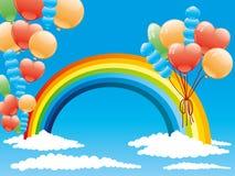 Ballonger och en regnbåge Royaltyfri Bild