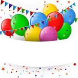 Ballonger och konfettier, baner för lycklig födelsedag Arkivfoto