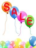 ballonger som fäster färgrik banaförsäljning ihop Arkivbild