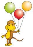 ballonger som rymmer apan Royaltyfri Fotografi