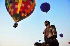 Ballongfestival på Ayudhaya Arkivfoto