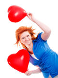 ballongflickahjärtor som rymmer valentin två Arkivbilder
