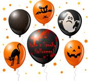 ballonghalloween set stock illustrationer