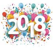 2018 ballongkonfettier vektor illustrationer