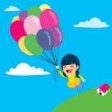 Ballonmeisje het Vliegen royalty-vrije illustratie