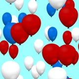 Ballons à air bleus blancs rouges de partie sur le ciel Photos stock