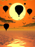 Ballons à air chauds à l'illustration de coucher du soleil Image stock