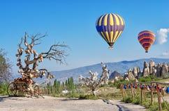 Ballons à air chauds au-dessus de paysage rural, dans Cappadocia, la Turquie photographie stock