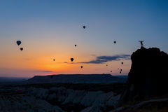 Ballons à air chauds au lever de soleil Photo libre de droits