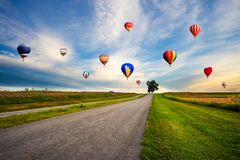 Ballons à air chauds colorés volant au-dessus du gisement de fleur de cosmos sur le su images stock