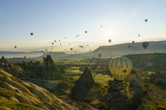 Ballons à air chauds dans Cappadocia, mai 2017 Images libres de droits