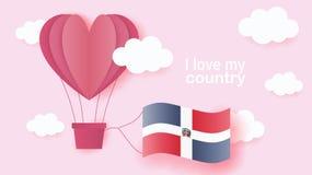 Ballons à air chauds dans la forme du vol de coeur en nuages avec le drapeau national de la République Dominicaine  art et coupe  illustration libre de droits
