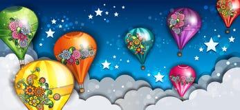 Ballons à air chauds de bannière Photos stock