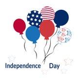 Ballons à air colorés, fond jusqu'au Jour de la Déclaration d'Indépendance des Etats-Unis d'Amérique, vecteur illustration stock