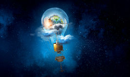 Ballons à air en ciel de soirée Images libres de droits