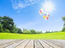 Ballons över trägolv och grönt gräs Royaltyfri Fotografi