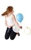 ballons άλμα κοριτσιών στοκ εικόνα