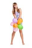 ballons ζωηρόχρωμος έφηβος κοριτσιών Στοκ Φωτογραφία