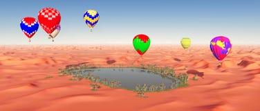 Ballons à air chauds au-dessus d'une oasis de désert Image stock