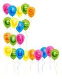 Ballons avec avec le signe de joyeux anniversaire - Allemand Photos libres de droits