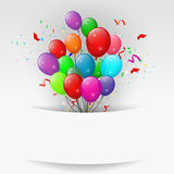 Ballons avec des confettis, bannière de joyeux anniversaire Photo stock