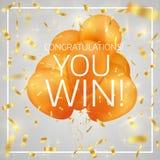 Ballons avec des félicitations de confettis et de textes que vous gagnez illustration de vecteur
