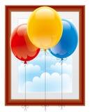 Ballons avec un cadre de tableau Photographie stock libre de droits