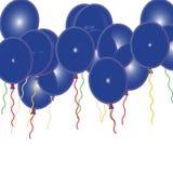 Ballons azuis da festa de anos Fotografia de Stock Royalty Free