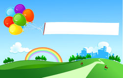 Ballons with banner Royalty Free Stock Images