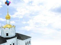 Ballons bij Kerk stock foto's