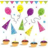 Ballons, biscuits et célébration sur l'anniversaire Photos libres de droits