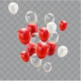 Ballons blancs rouges, conception de l'avant-projet de confettis 17 August Happy Independence Day illustration libre de droits