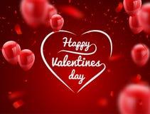 Ballons blancs rouges, jour heureux du ` s de Valentine de calibre de conception de l'avant-projet de confettis, illustration de  illustration libre de droits