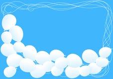 Ballons blancs sur une carte de ciel bleu illustration de vecteur