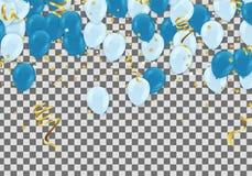 Ballons bleus, salutation de Jour de la Déclaration d'Indépendance de conception de l'avant-projet de confettis Photo libre de droits